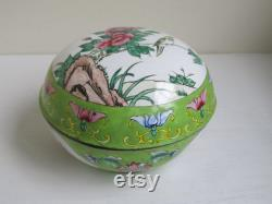 Vintage Chinese cloisonné box, Canton metal enamel box, handpainted vintage storage pot, famille verte jewelry trinket powder pot