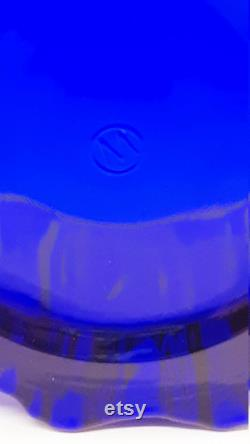 Vintage Cobalt Blue Glass Lady Powder Box