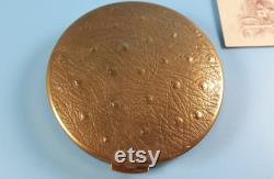Vintage Collectible Powder Box Mirror Gold tone Metal 1950-1960-s