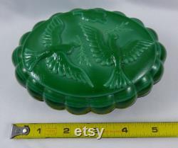 Vintage Czech Bohemian Malachite Green Slag Glass Art Deco Powder Jar Dresser Box Two Doves
