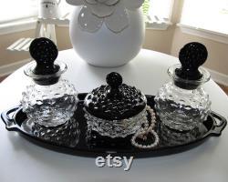Vintage Depression Black Clear Glass Glass Colonial Hobnail Vanity Dresser Set Powder Trinket Jar Cologne Bottles Tray 1930s