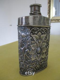 Vintage Djokja Yogya Silver Talcum Powder Shaker, 800 1000, Handcrafted with Oriental Flowers and Foliage, Collectable, Gift