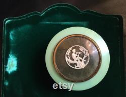 Vintage Dubarry Green Plastic Powder Pot