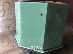 Vintage Dupont Lucite Empire Grecian Beauty Covered Powder Box With Glass Insert