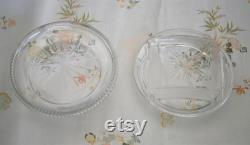 Vintage Edwardian Cut Glass Powder Bowl and Pink Powder Puff