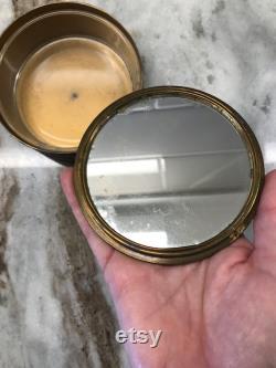 Vintage Embossed Brass loose Powder Case Glass Liner or trinket box