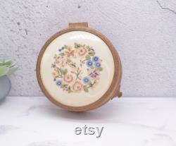 Vintage Embroidered Powder Jar and Jewellery Box