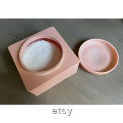 Vintage Evyan Pink Shoulders Cameo Powder Square Box and Puff FULL Art Nouveau 8oz