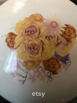 Vintage Floral Porcelain Jewelry Box, Large Circular Powder Box, Yellow, Purple Pink and Orange Flowers, Gold Trinket Dish, Vanity Dish