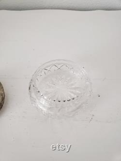 Vintage Glass Powder Jar Silverplate Lid