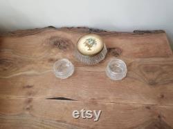 Vintage Glass Powder Jar with metal lid and smaller jars