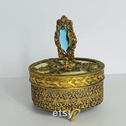 Vintage Gold Ormolu Gold Filigree Footed Powder Box with Gem Finial on Lid