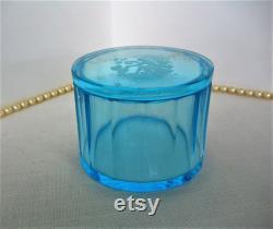 Vintage HEINRICH HOFFMAN Blue Czech Powder Jar Powder Box Trinket Box 1920s 30s Art Deco Bohemian Czech Glass GIFT Wedding Dresser Jar
