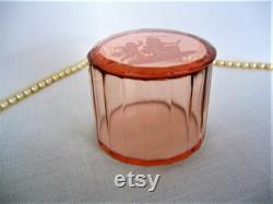Vintage HEINRICH HOFFMAN Pink Czech Powder Jar Powder Box Trinket Box 1920s 30s Art Deco Bohemian Czech Glass GIFT Wedding Dresser Jar