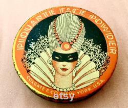 Vintage Hard to Find Piquante Brand Purse Size Powder Tin Art Deco