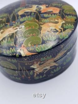 Vintage Indian Kashmir Hand Painted Paper Mâché Box. Indian Soldiers on Horseback. Indian Folk Tales Battle Scene. Battle Images From India