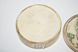 Vintage Italian Painted Ceramic Covered Jar