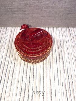 Vintage Jeanette Glass Company Jeanette Red yellow Glass Lipstick Holder Powder Box Trinket Box