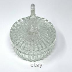 Vintage Jeannette Glass Covered Dresser Powder Box with Swan Top Lipstick Holder