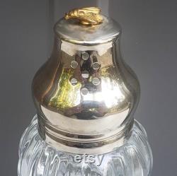 Vintage Lady Primose Dusting Silk Bottle Shaker Golden Bee on Silver Cap Talcum Powder Dispenser
