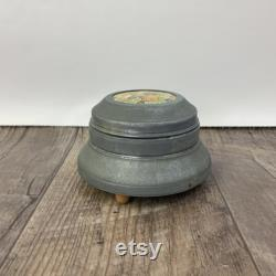 Vintage Metal Puff Jar with Ceramic Lid, 1940s Powder Puff Keeper Made in Switzerland