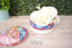 Vintage Mikasa Herald Angel Round Porcelain Powder Box with Lid, Lidded Trinket Dish Dan Scannell Stained Glass Look, Xmas Angel Decor