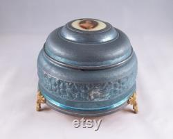 Vintage Musical Powder Box, Blue and Gold Metal With Lady Portrait