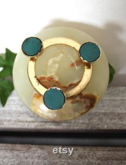 Vintage Onyx Alabaster Marble Hinged Lid Powder Jar, Trinket Dish, Vanity Jar
