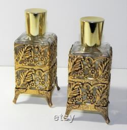 Vintage Perfume or Lotion Bottle Vanity Set Glass with Gold Metal Trim