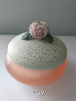 Vintage Pink Lucite Acrylic Powder Dresser Jar With Roses