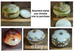 Vintage Porcelain Powder Jar with 8 ounces of Handmade Body Powder and Handmade Puff