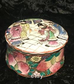 Vintage Porcelain Trinket Box Hand Painted in Macau with Asian Figures on Lid and Multi Colored, Raised, Floral Base.