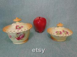 Vintage Porcelain Vanity Powder Jars, Vintage Vanity Set