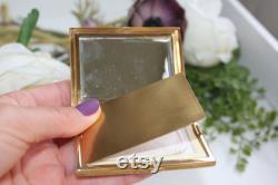 Vintage Powder Box Enameled Blush Holder and Mirror Vanity Box Ladies Bag Accessory