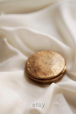 Vintage Powder Box, French antique Gold Mirror Metal Brass