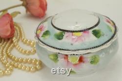 Vintage Powder Jar From Japan Floral Vanity Jar Japan Bone China Pink Flowers Hand Painted Asian Powder Jar Signed Trinket Box Vanity Dish