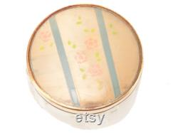 Vintage Powder Jar Pink Roses with Blue Stripes Top on Embossed Decorative Clear Glass Bottom Retro Decor Hollywood Glamour