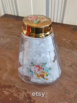 Vintage Powder Jar Ribbed Glass Handpainted Pink Roses 30's Fashion Shabby Chic Decor Cottage Style Vanity Bubble Bath or Shaker