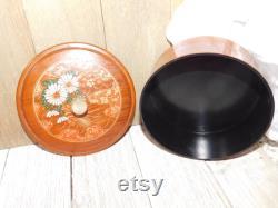 Vintage Powder Puff Box, Small Round Flower Box, Trinket Box, Vanity Powder box, Vtg Bathroom Decor, Vintage Home Decor, Prop, Gift Idea, Dc