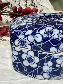 Vintage Power Box, Hexagon Dish with Lid, Blue and White