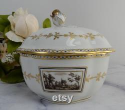 Vintage RICHARD GINORI Porcelain Fiesole Trinket Box with Rose Top
