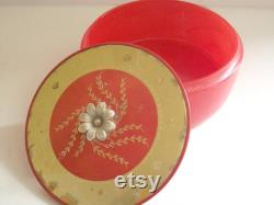 Vintage Red and Gold Powder Box, Opaque Red Glass Powder Box, Vintage Powder Box, Gold Trimmed Powder Box, Trinket Box, VIntage Red and Gold