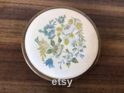 Vintage Regent Products Floral Glass Powder Jar Made In England
