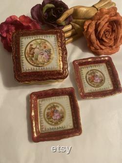 Vintage Rosenthal Chippendale vanity box ring dish, 3 piece Rosenthal Fragonard cigarette box, ornate porcelain Germany dressing table set