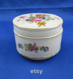 Vintage Sadler Powder Box Cabbage Rose Floral Spray Round Trinket Jewelry Box with Lid and Gold Gilt Accenting Made in England James Sadler