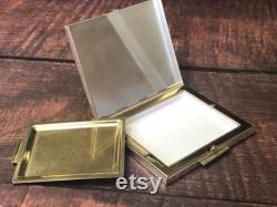 Vintage Souvenir Etched Alaska Gold Tone Metal Powder Compact with Mirror