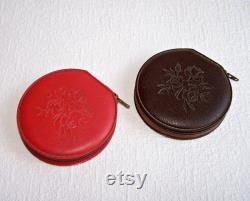 Vintage Soviet Powder Compact. Convertible Compact. Leatherette Refillable Powder Compact with a Mirror. Collectible. Gift for Her.