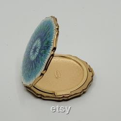 Vintage Stratton Blue Teal Enamel Gold tone Mirror Powder Compact Case. Made in England.