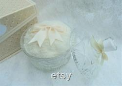 Vintage Style Cream Luxury Faux Fur Powder Puff and Powder Jar. Soft and Fluffy. Gift for Her. Pamper Gift. Vegan Gift.