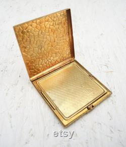 Vintage Tiny Brass Box Enameled Jewelry Box Small Powder Box